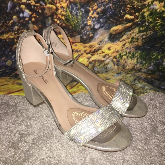 53748544c8a2 Call It Spring Shoes - Silver Sparkly Block Heel Sandals